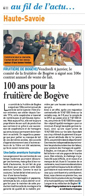 100 ans pour la Fruitière de Bogève