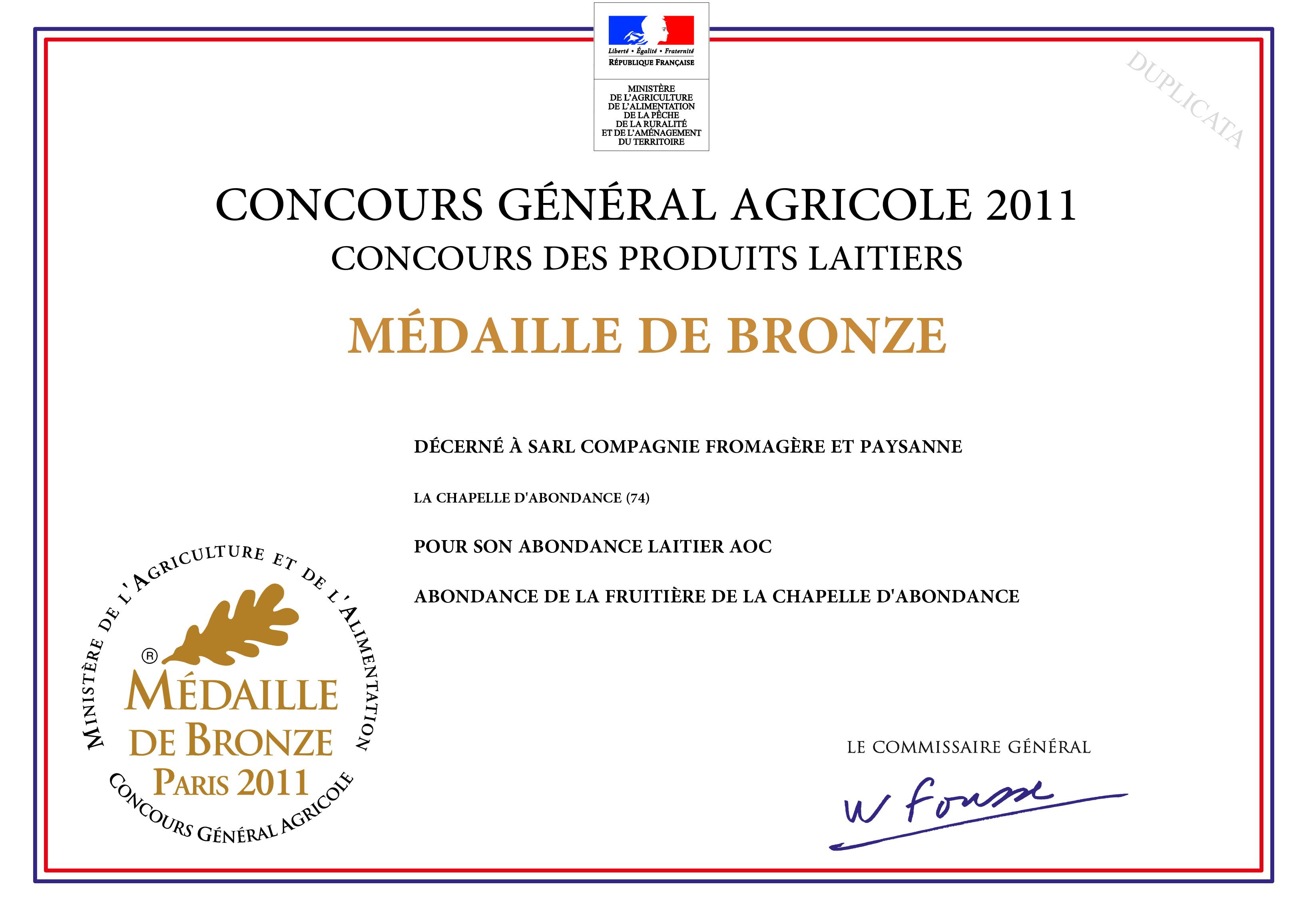 Médaille de bronze pour l'Abondance laitier AOC 2011