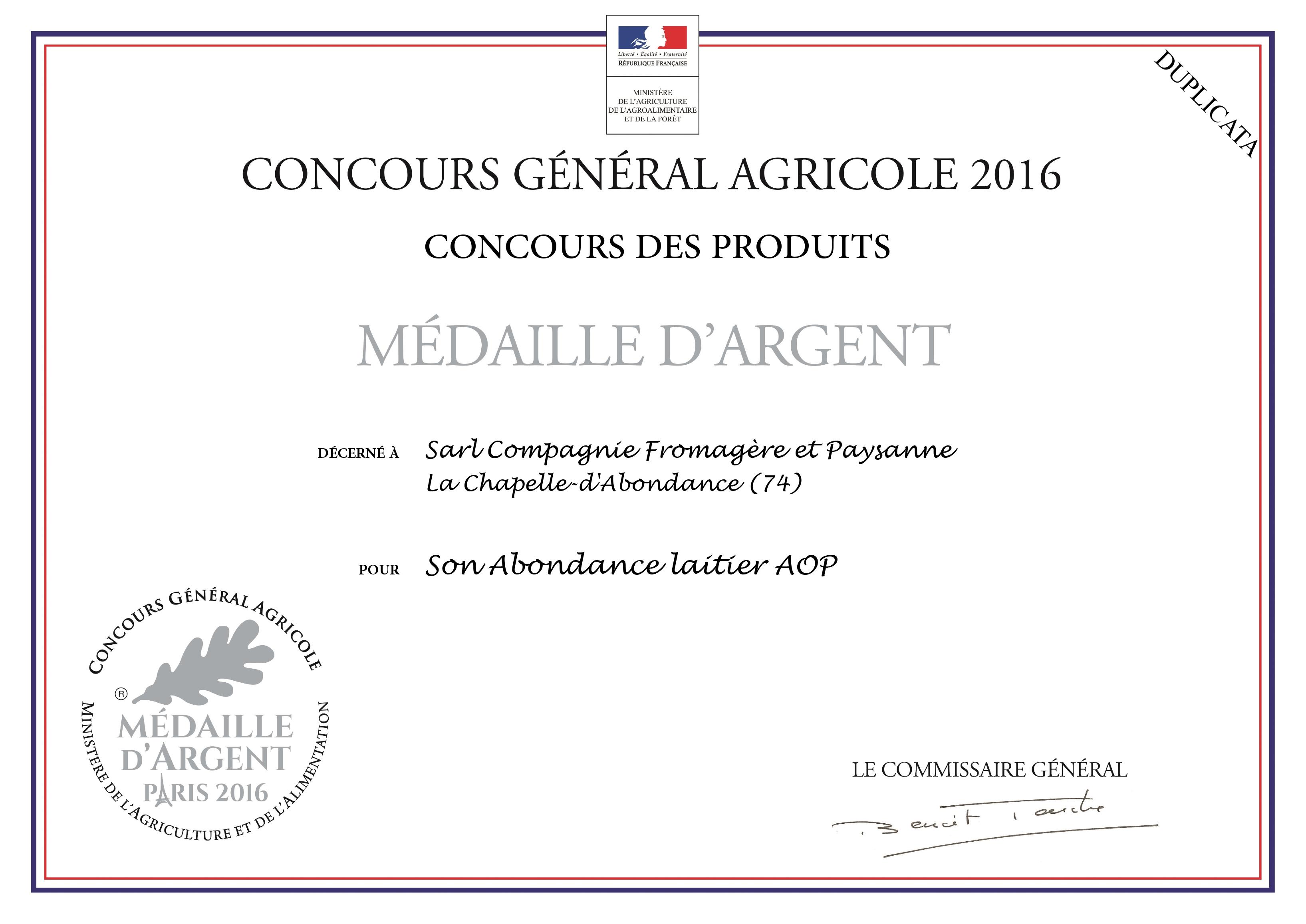 Médaille d'argent  pour l'Abondance laitier AOP 2018
