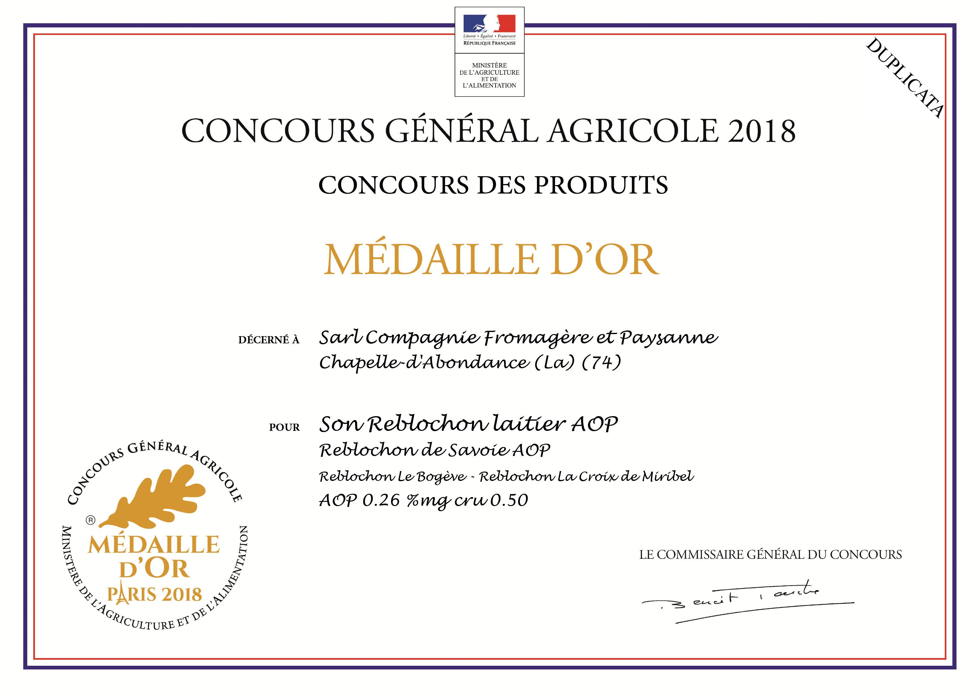 Médaille d'or pourle reblochon laitier AOP 2018