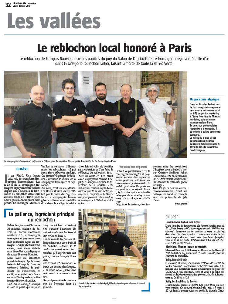 Le reblochon local honoré à Paris